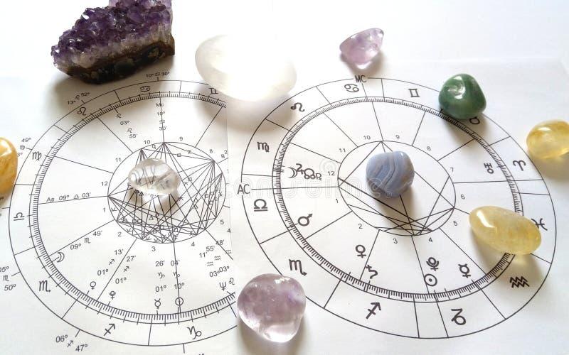 Astrologiediagramm Quarz-Naturstein-Crystal Natal-Diagramm stockfotos