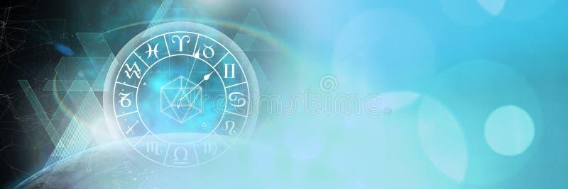 Astrologiedierenriem met blauwe fonkelingslichten en planeet stock illustratie