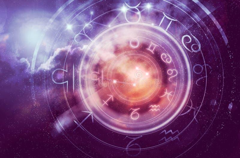 Astrologiehoroskophintergrund lizenzfreie stockfotos