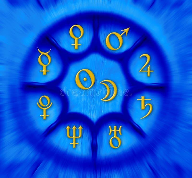 Astrologieplaneten lizenzfreie abbildung