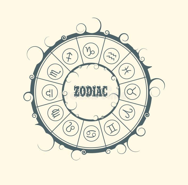 Astrologiesymbolen in cirkel stock illustratie