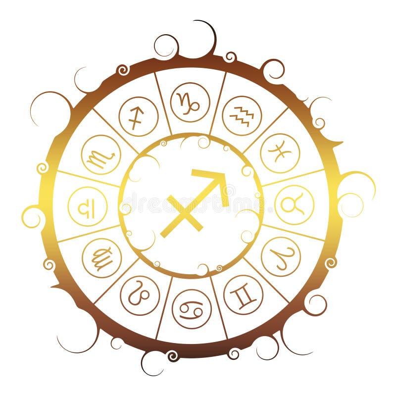 Astrologiesymbolen in cirkel Archer-teken stock illustratie