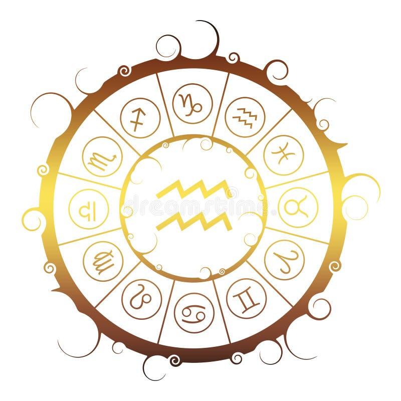 Astrologiesymbolen in cirkel Het teken van de waterdrager stock illustratie