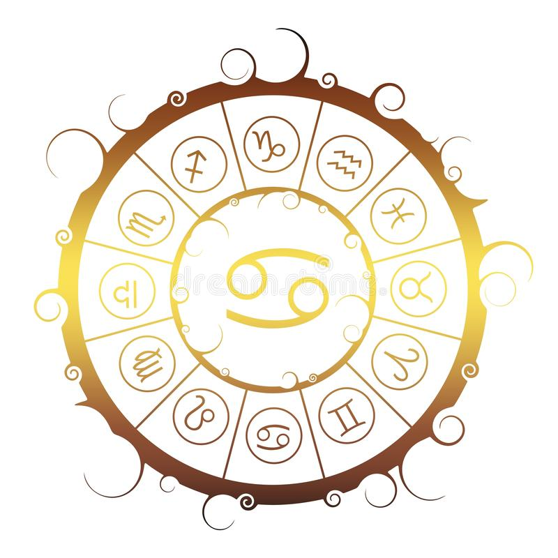 Astrologiesymbolen in cirkel Kankerteken royalty-vrije illustratie