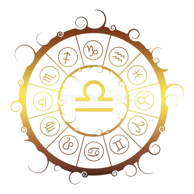 Astrologiesymbolen in cirkel Schalenteken vector illustratie