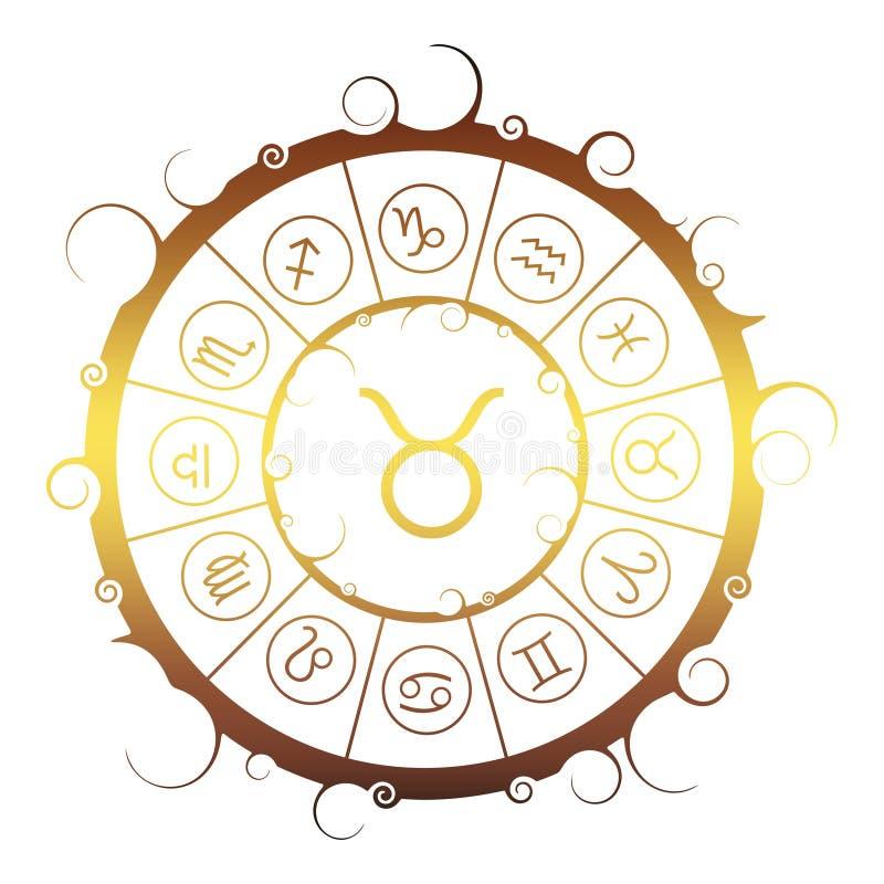 Astrologiesymbolen in cirkel Stierenteken stock illustratie