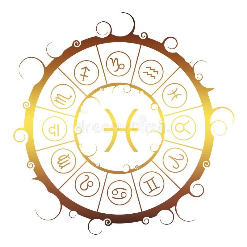 Astrologiesymbolen in cirkel Vissenteken stock illustratie