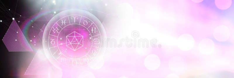 Astrologietierkreis mit Scheinlichtern und -formen lizenzfreie abbildung