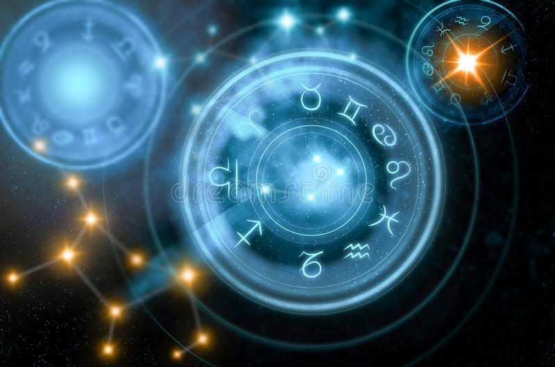Astrologihoroskopbakgrund stock illustrationer