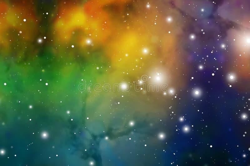 Astrologii mistyczki tło abstrakt przeciw tło żeńskiej zewnętrznej portreta przestrzeni Wektorowa Cyfrowej ilustracja wszechświat ilustracja wektor