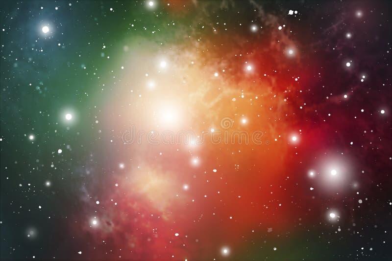 Astrologii mistyczki tło abstrakt przeciw tło żeńskiej zewnętrznej portreta przestrzeni Wektorowa Cyfrowej ilustracja wszechświat royalty ilustracja