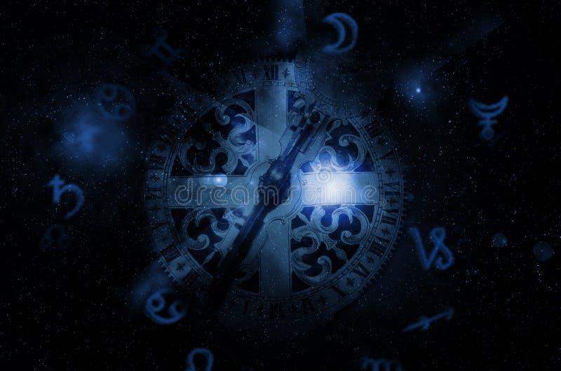 Astrologiklocka royaltyfri illustrationer