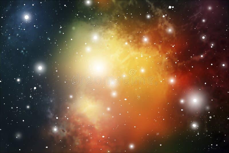 Astrologimystikerbakgrund abstrakt begrepp mot avstånd för stående för bakgrundskvinnlig ytterkant VektorDigital illustration av  royaltyfri illustrationer