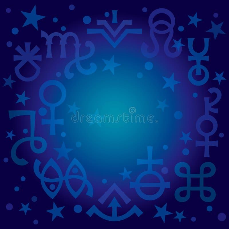 Astrologisch diadeem -- astrologische tekens en geheime mystieke symbolen, achtergrond van het blauwdruk de hemelpatroon met ster stock illustratie