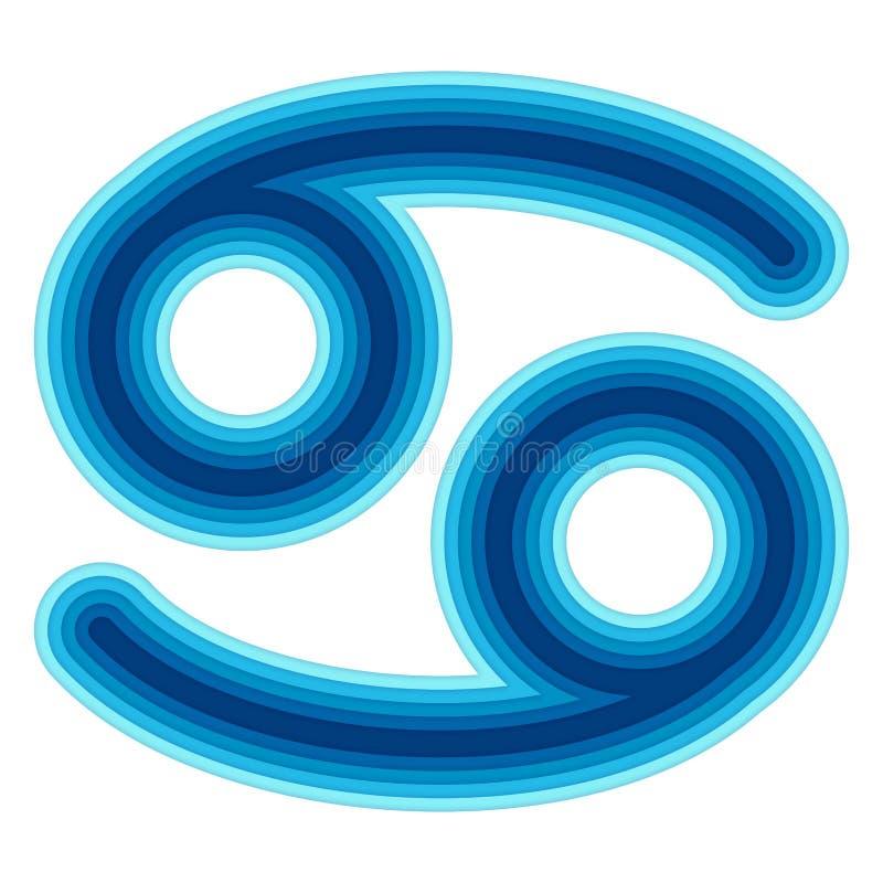 Astrologisch symbool van Kanker vectordocument besnoeiing vector illustratie