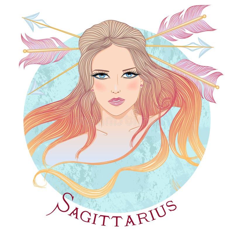 Astrologisch teken van Boogschutter als mooi meisje royalty-vrije illustratie