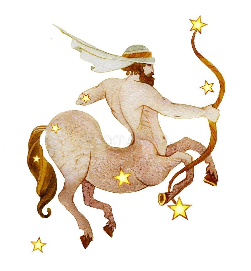 Astrologisch teken van de waterverf van de dierenriemboogschutter met retro stijl, dat op een witte achtergrond wordt geïsoleerd stock illustratie