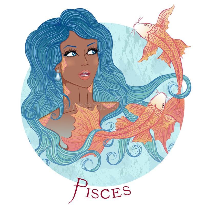 Astrologisch teken van Vissen als mooi Afrikaans Amerikaans meisje stock illustratie