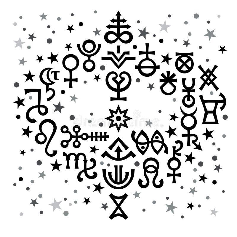 Astrologische boeket astrologische tekens en geheime mystieke symbolen, zwart-witte hemelpatroonachtergrond met sterren royalty-vrije illustratie