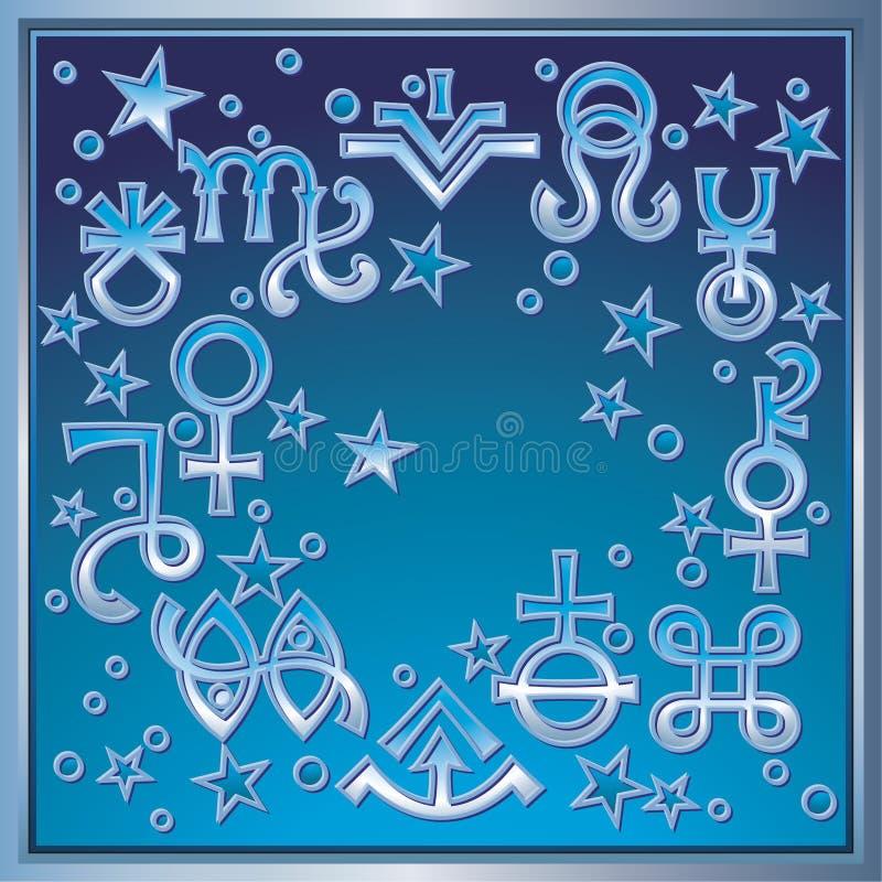 ? ?Astrologische diadem?, het uittreksel van sommige recente astrologische tekens en geheime mystieke symbolen royalty-vrije illustratie