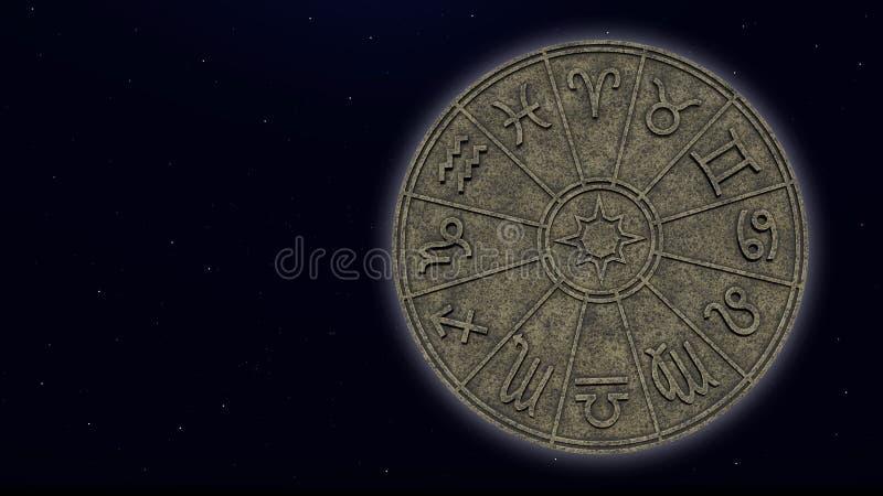 Astrologische dierenriemtekens binnen van de cirkel van de steenhoroscoop stock foto