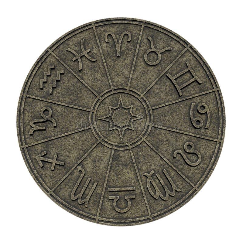 Astrologische dierenriemtekens binnen van de cirkel van de steenhoroscoop stock illustratie