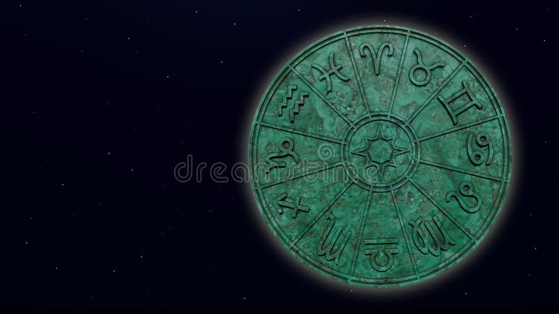 Astrologische dierenriemtekens binnen van groene marmeren horoscoopcirkel stock foto