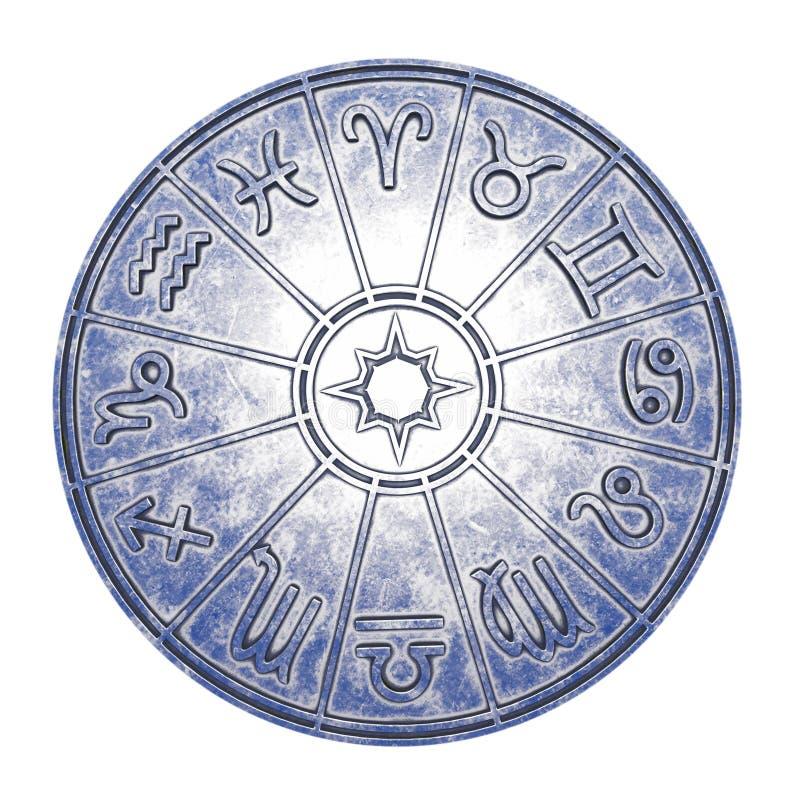 Astrologische dierenriemtekens binnen van zilveren horoscoopcirkel stock foto