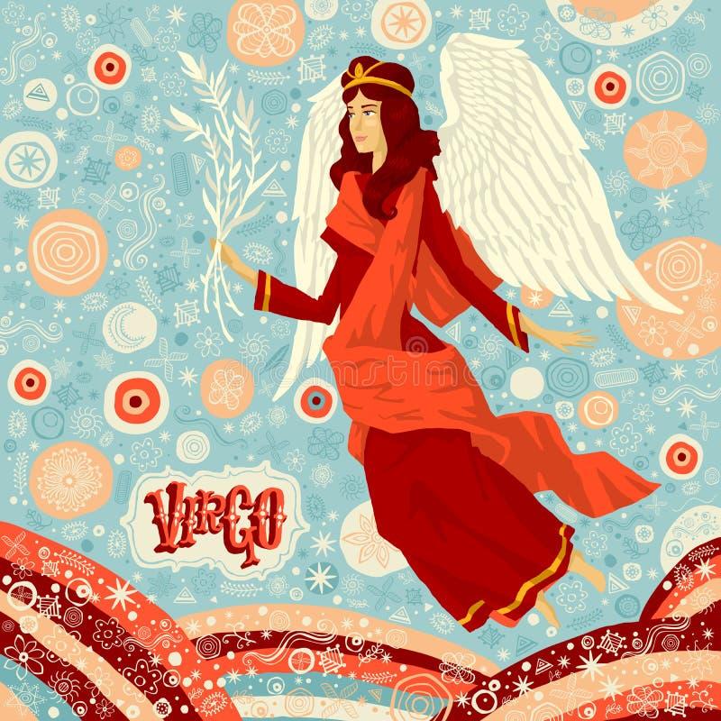 Astrologische Sternzeichen Jungfrau Teil eines Satzes Horoskopzeichen stock abbildung