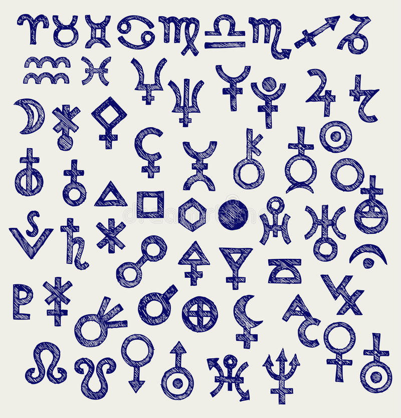 Astrologische Symbole lizenzfreie abbildung