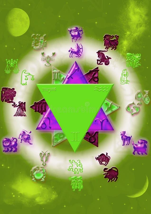 Astrologische Symbole mit mystischem Kreis stock abbildung