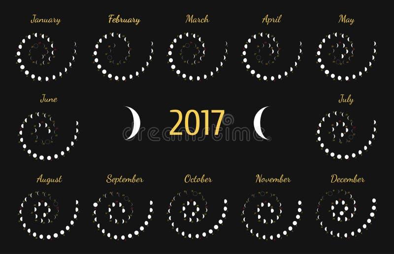 Astrologischer gewundener Kalender des Vektors für 2017 Lunye-Phasenkalender für Weiß auf einem dunkelgrauen Hintergrund lizenzfreie abbildung