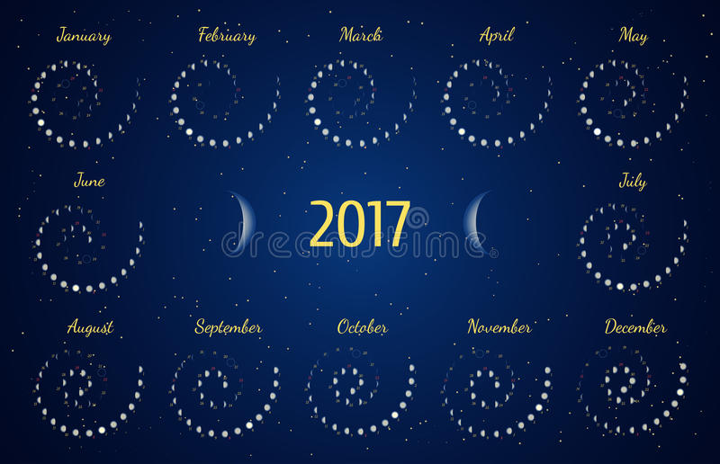 Astrologischer gewundener Kalender des Vektors für 2017 Moon Phasenkalender im Nachtsternenklaren Himmel lizenzfreie abbildung