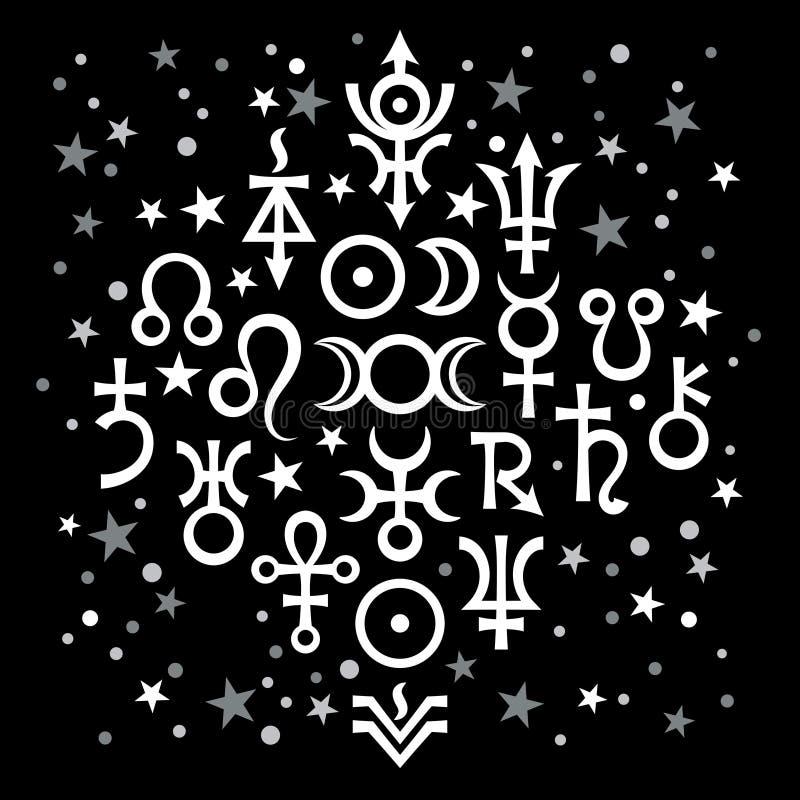 Astrologischer Satz ?20 ( Tierkreiszeichen und geheimnisvolles mystisches symbols) , himmlisches Muster mit Sternen stock abbildung