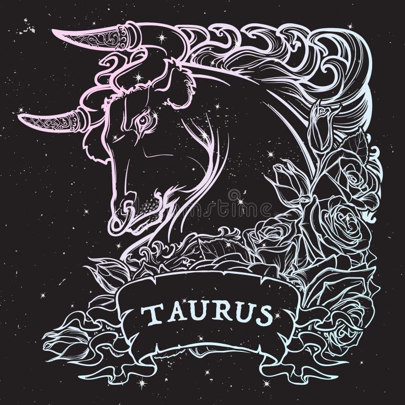 Astrologischer Stier lokalisiert auf sternenklarem Himmelhintergrund stock abbildung