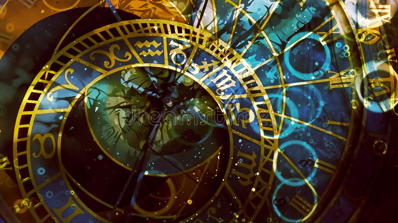 Astrologischer Symboltierkreis Abstrakter Farbenhintergrund Computercollage vektor abbildung