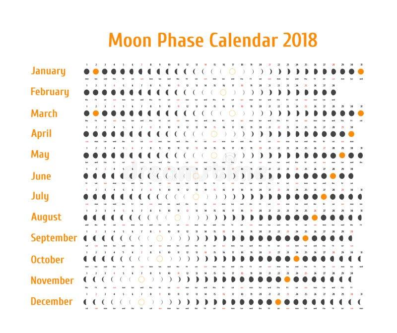 Astrologisk kalender för vektor för 2018 Månefaskalender för mörker - grå färg på en vit bakgrund Idérik mån- kalender stock illustrationer