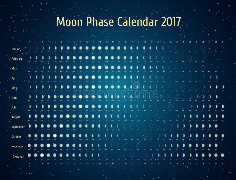 Astrologisk kalender för vektor för 2017 Månefaskalender i den stjärnklara himlen för natt Idérika idéer för mån- kalender royaltyfri illustrationer
