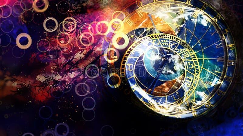 Astrologisk symbolzodiak i moln abstrakt bakgrundsfärg datorcollage vektor illustrationer