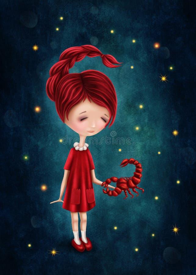 Astrologisk teckenflicka för Skorpion royaltyfri illustrationer