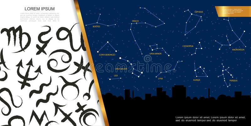 Astrologiska Celestial Map Concept royaltyfri illustrationer