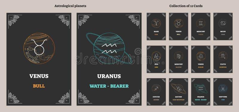Astrologiska planeter och motsvarande zodiakteckensymboler med etiketter Det illustrerade vektorhoroskopet cards samlingen stock illustrationer