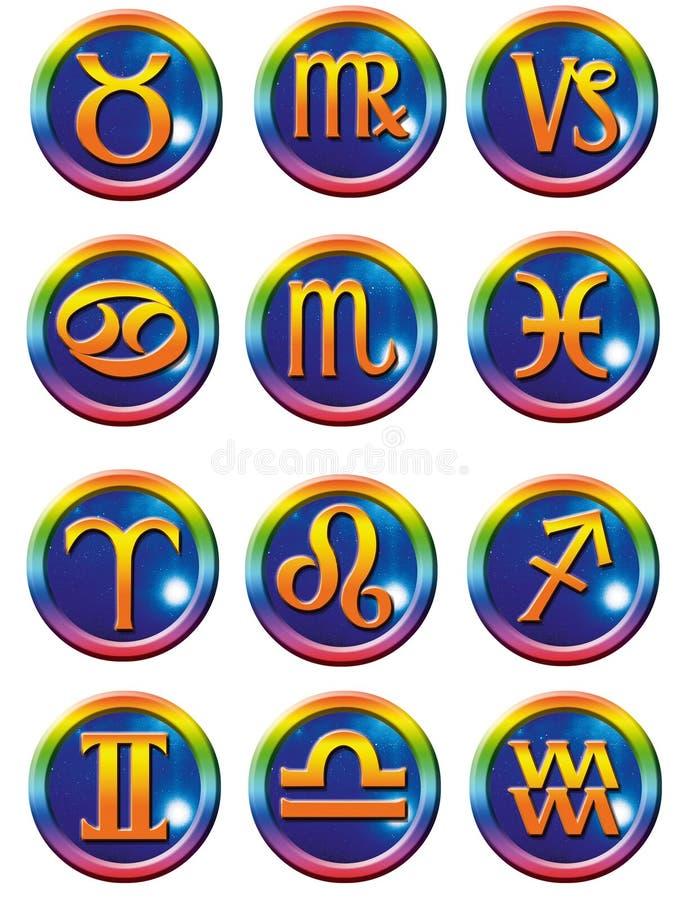 astrologiska symboler royaltyfri illustrationer
