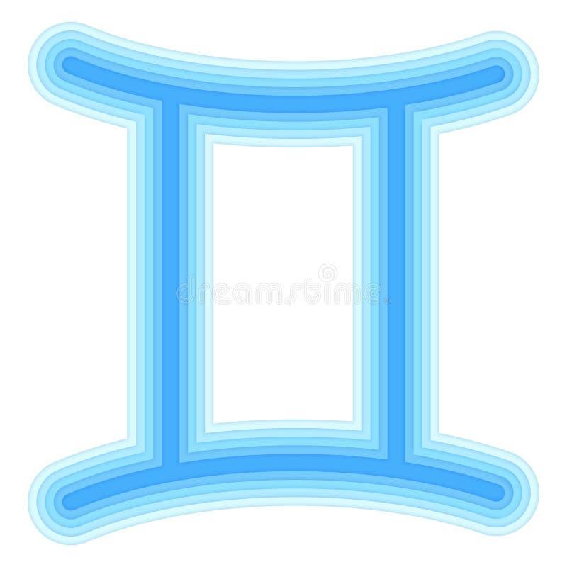 Astrologiskt symbol av snittet för Tvillingarnavektorpapper vektor illustrationer