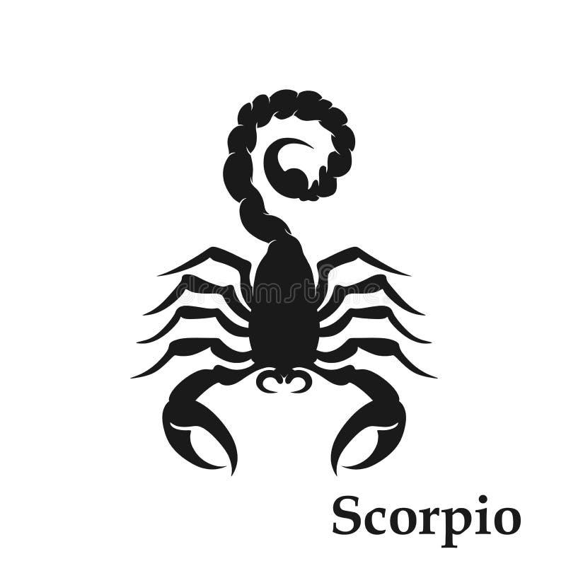 Astrologiskt symbol för Skorpionzodiaktecken horoskopsymbol isolerad bild i enkel stil stock illustrationer