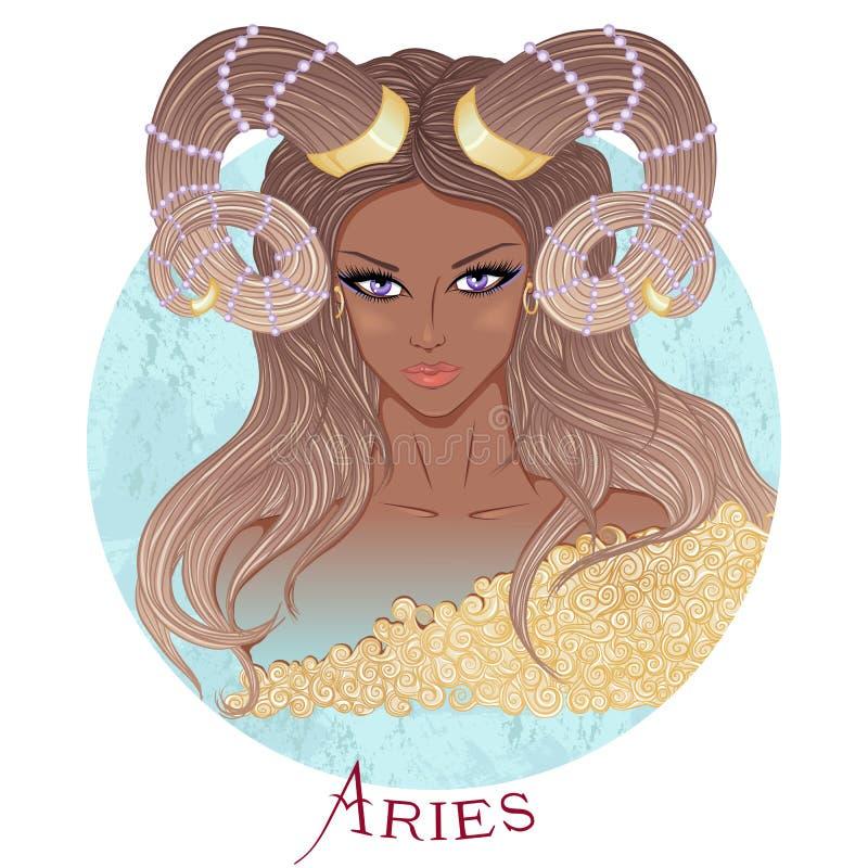 Astrologiskt tecken av vädur som en härlig afrikansk amerikanflicka stock illustrationer
