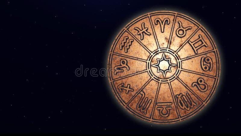 Astrologiskt zodiaktecken inom av kopparhoroskopcirkeln fotografering för bildbyråer
