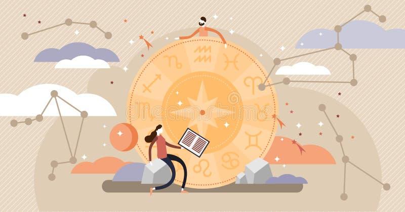Astrologivektorillustration Plana symboler för zodiakkonstellationkunskap royaltyfri illustrationer