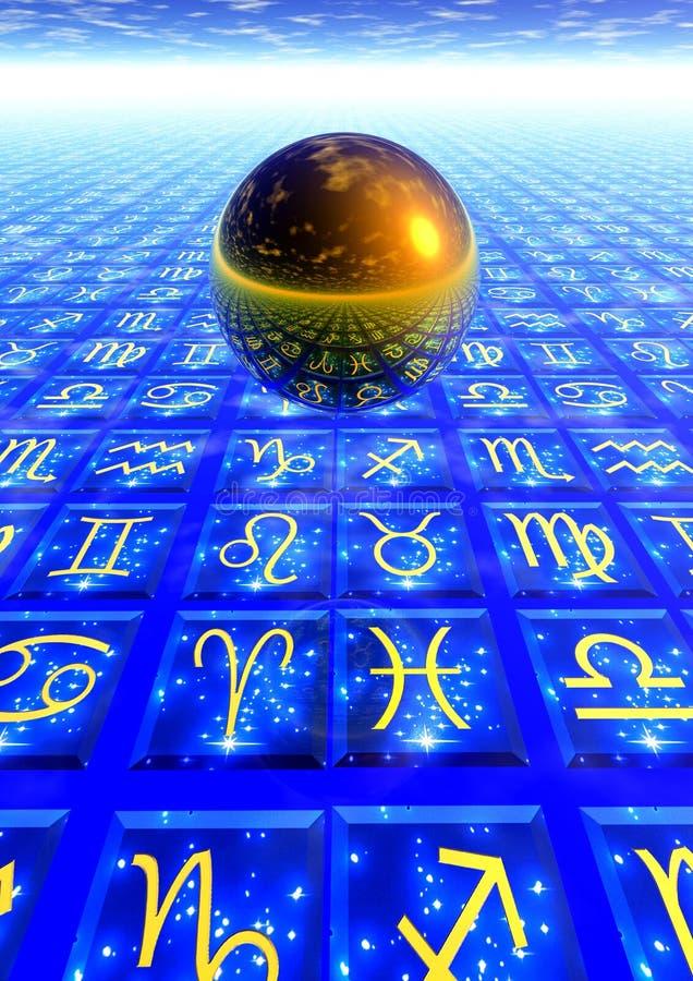 Astrology. 3d render of a golden sphere floating over a floor with zodiacal symbols stock illustration