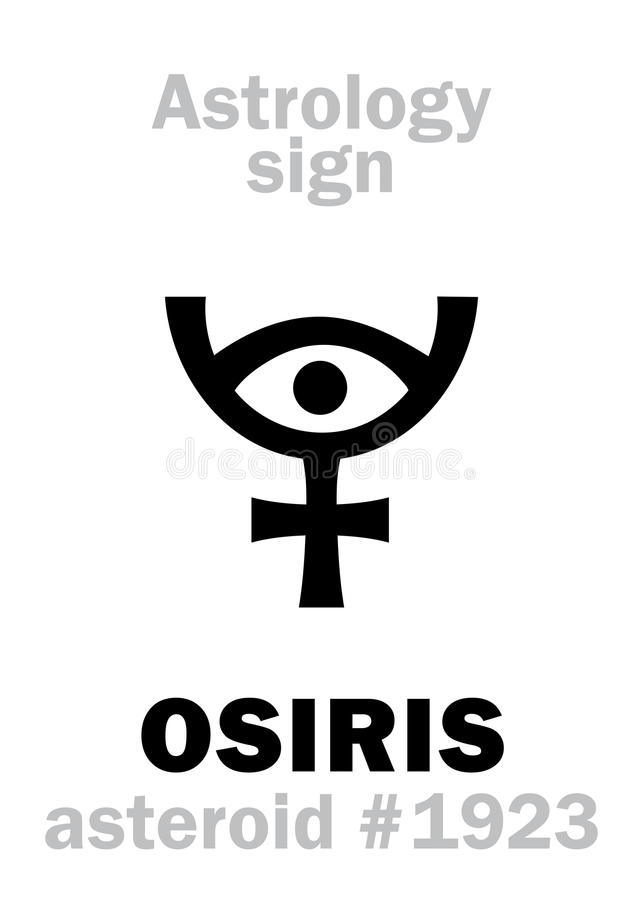 Astrology: asteroid OSIRIS. Astrology Alphabet: OSIRIS (Usir), asteroid #1923. Hieroglyphics character sign (single symbol) vector illustration
